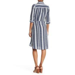 Superfoxx Dresses - Superfoxx Striped Wrap Shirt Dress Navy & White